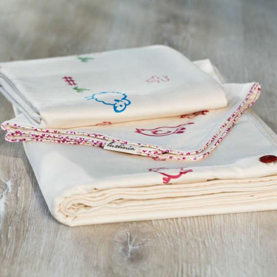 Bio Bettwäsche mit Schaf Motiv aus 100% Bio-Baumwolle handbedruckt