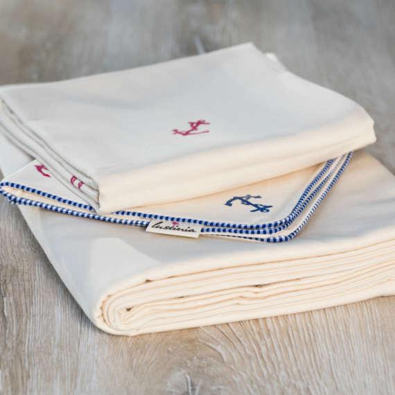 Bio Bettwäsche mit Anker Motiv aus 100% Bio-Baumwolle handbedruckt