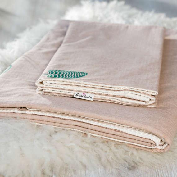 Bio Wendebettwäsche mit Pflanzenblatt Motiv aus 100% Bio-Baumwolle handbedruckt