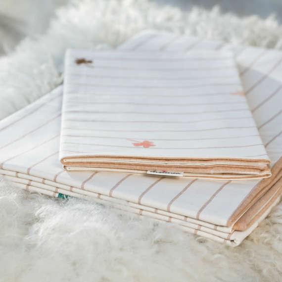 Bio Wendebettwäsche mit Ginkgo und Kleeblatt Motiv aus 100% Bio-Baumwolle handbedruckt